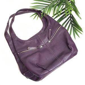 TIGNANELLO Purple Leather TRIPLE Hobo Shoulder Bag
